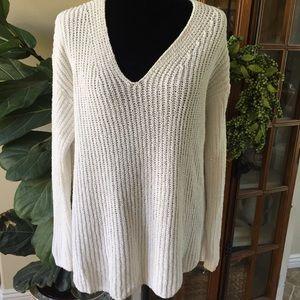 LOU & GREY White Pullover Cotton & Nylon Sweater S